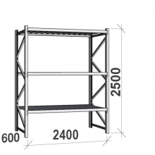 Maxi starter bay 2500x2400x600 300kg/level,3 levels with steel decks