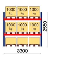 Kaubaaluse riiul põhiosa 2550x3300 1000kg/alus,9 alust