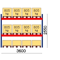 Kaubaaluse riiul põhiosa 2550x3600 805kg/alus,12 alust