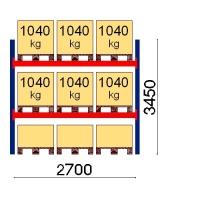 Kaubaaluse riiul põhiosa 3450x2700 1041kg/alus,9 alust