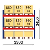 Kaubaaluse riiul põhiosa 3450x3300 860kg/alus,9 alust