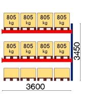 Kaubaaluse riiul lisaosa 3450x3600 805kg/alus,12 alust