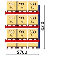 Kaubaaluse riiul lisaosa 4500x2700 580kg/alus,12 alust