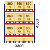 Kaubaaluse riiul põhiosa 4500x3300 860kg/alus,12 alust