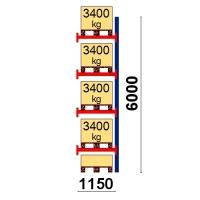 Kaubaaluse riiul lisaosa 6000x1150 3400kg/alus,5 alust