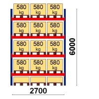 Kaubaaluse riiul põhiosa 6000x2700 580kg/alus,15 alust