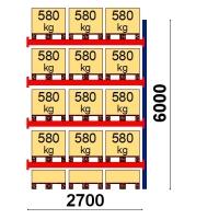 Kaubaaluse riiul lisaosa 6000x2700 580kg/alus,15 alust