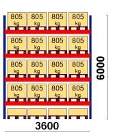 Kaubaaluse riiul põhiosa 6000x3600 805kg/alus,20 alust