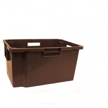 Plastic storage box 600x400x300mm, brown