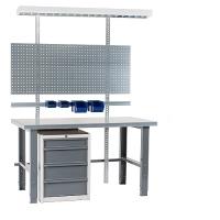 Töölaud 1500x800+sahtlikapi, perfoseina, lambi, plastkarkarpide ja zn jalgadega