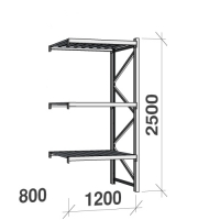Extension bay 2500x1200x800 600kg/level,3 levels with steel decks