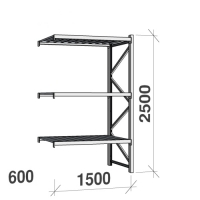 Extension bay 2500x1500x600 600kg/level,3 levels with steel decks