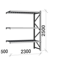 Extension bay 2500x2300x500 350kg/level,3 levels with steel decks