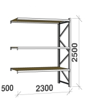 Extension bay 2500x2300x500 350kg/level,3 levels with chipboard