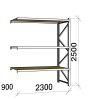 Extension bay 2500x2300x900 350kg/level,3 levels with chipboard
