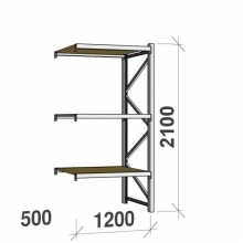 Extension bay 2100x1200x500 600kg/level,3 levels with chipboard