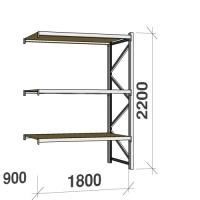Metallriiul lisaosa 2200x1800x900 480kg/tasapind,3 puitlaast tasapinda