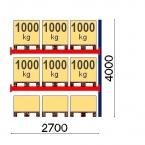 Kaubaaluste riiuli jätkuosa 4000x2700, 1000kg/alus, 9 EUR alust OPTIMA