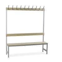 Single bench 1700x900x400 with 6 hook rail