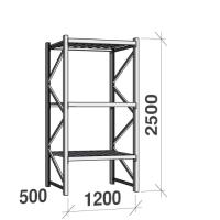 Metallriiul põhiosa 2500x1200x500 600kg/tasapind,3 tsinkplekk tasapinda
