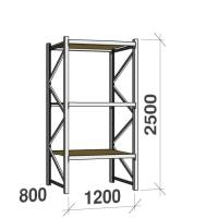 Metallriiul põhiosa 2500x1200x800 600kg/tasapind,3 puitlaast tasapinda