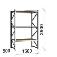 Starter bay 2500x1500x500 600kg/level,3 levels with chipboard