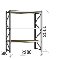 Starter bay 2500x2300x600 350kg/level,3 levels with chipboard