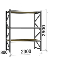 Starter bay 2500x2300x800 350kg/level,3 levels with chipboard