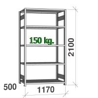 Laoriiul põhiosa 2100x1170x500 150kg/riiuliplaat,5 plaati