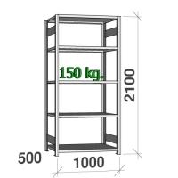 Laoriiul põhiosa 2100x1000x500 150kg/riiuliplaat,5 plaati