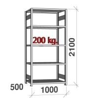 Laoriiul põhiosa 2100x1000x500 200kg/riiuliplaat,5 plaati