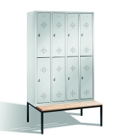 2-tier locker with bench, 8-doors, 2090x1190x500/815 mm