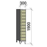 10-tier locker, 10 doors, 1900x300x545 mm