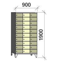 10-tier locker, 30 doors, 1900x900x545 mm