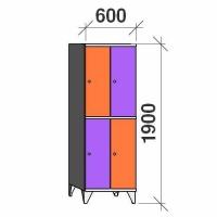 2-tier locker, 4 doors, 1900x600x545 mm