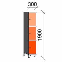 3-tier locker, 3 doors, 1900x300x545 mm