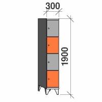 4-tier locker, 4 doors, 1900x300x545 mm