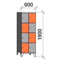 4-tier locker, 8 doors, 1900x600x545 mm