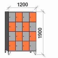 4-tier locker,16 doors, 1900x1200x545 mm