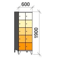 5-tier locker, 10 doors, 1900x600x545 mm