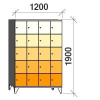 5-tier locker, 20 doors, 1900x1200x545 mm