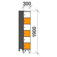 6-tier locker, 6 doors, 1900x300x545 mm