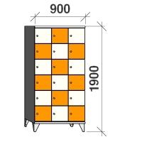 6-tier locker, 18 doors, 1900x900x545 mm