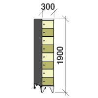8-tier locker, 8 doors, 1900x300x545 mm