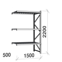 Extension bay 2200x1500x500 600kg/level,3 levels with steel decks