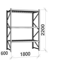 Metallriiul põhiosa 2200x1800x600 480kg/tasapind,3 tsinkplekk tasapinda