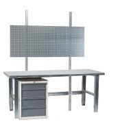 Töölaud 1500x800 + sahtlikapi, perfoseina ja tsingitud jalgadega