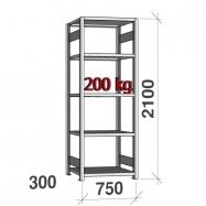 Põhiosa 2100x750x300 200kg/riiuliplaat,5 plaati