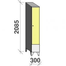 Riidekapp 1x300  2085x300x545, lühike uks, kaldkatusega