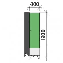 Riidekapp 1x400, 1900x400x545, vaheseinaga